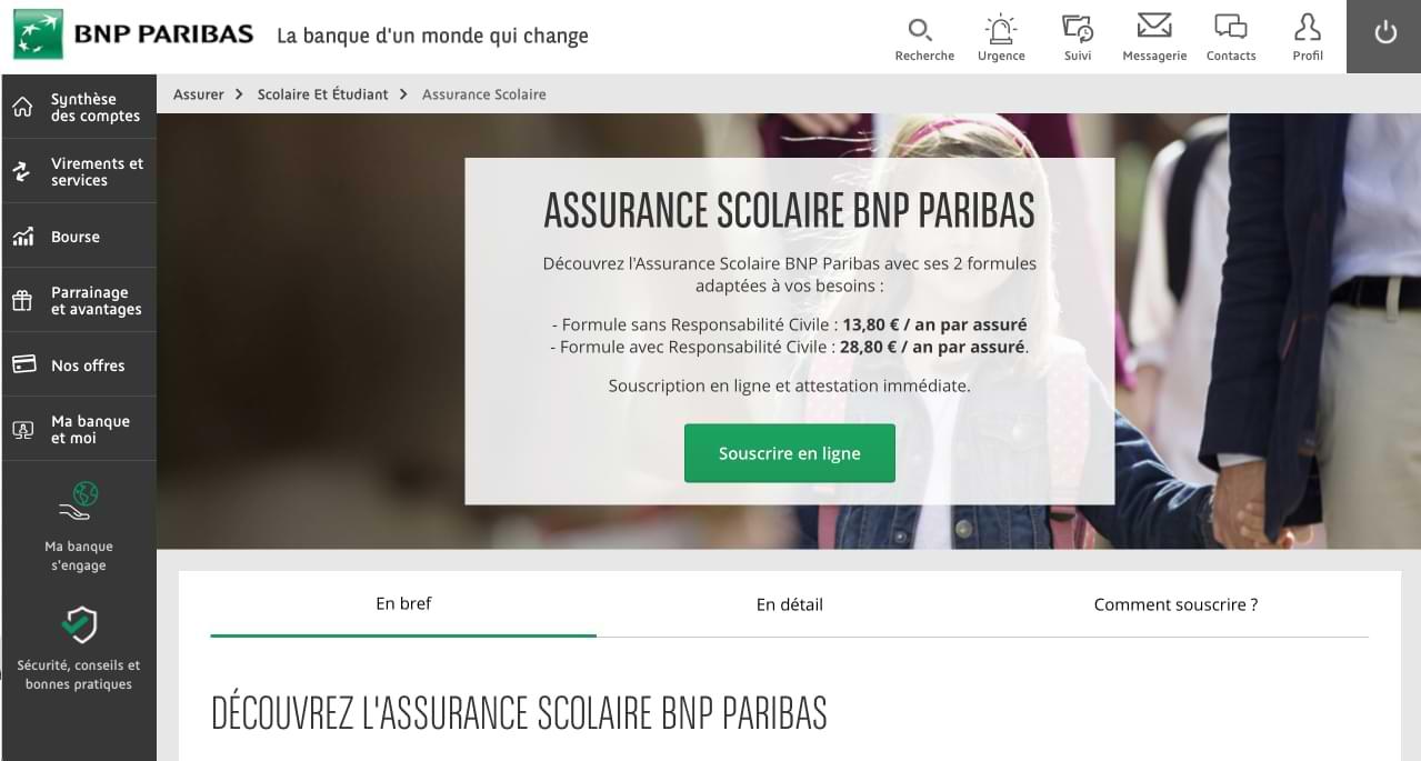 Assurance Scolaire BNP Paribas